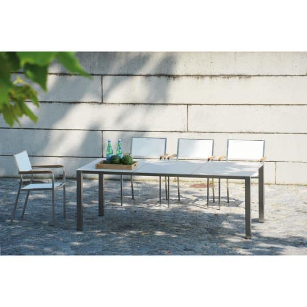 """Gartenmöbelset: 1 Tisch, 4 Stühle, 2 Sonnenliegen  """"Lux Base"""", weiß 2"""