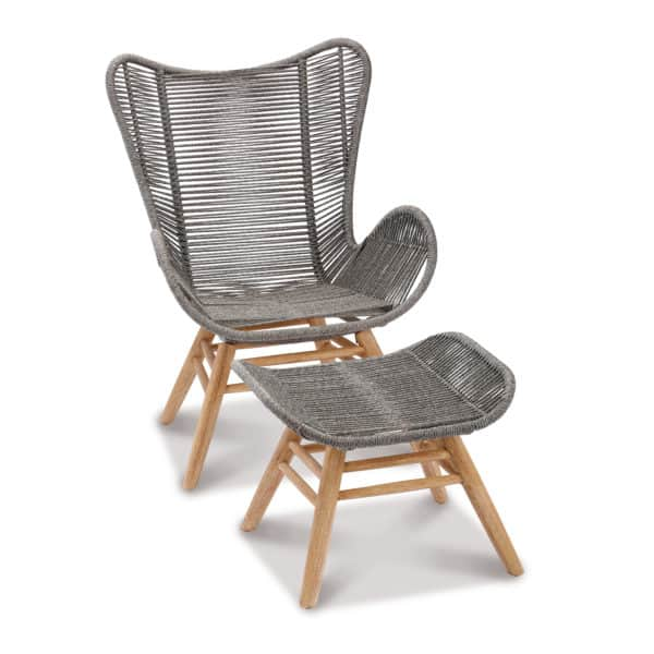 Relax Loungesessel mit Hocker Asmara, grau/beige 2